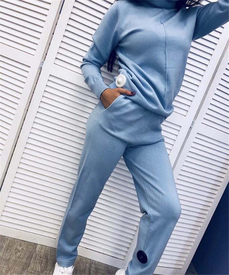 Nuova Modo Cachi grigio Pieno Rosa Maglia A colore Pantaloni Due Delle Promozione Pezzi Maglione Vestito Collo Alto Cotone Del Cielo Donne Coulisse E 2018 azzurro Tute Di nBS1qxBwv8