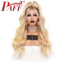 PAFF 4T613 Ombre Blonde Silk Top Full Lace Human Hair Wigs Natural Wave Glueless Pre Plucked Bleached Knots