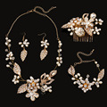4 pieces bridal Jewelry Sets hair Combs/Necklaces/Earrings/bracelets handmade wedding accessories wholesale pearl jewelry