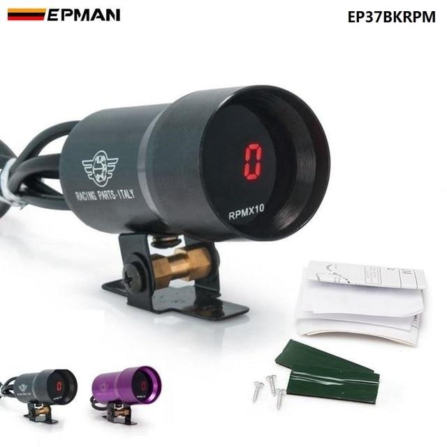 EPMAN -37mm Smoke Tach RPM Tachometer Red Digital Shift Light Style Gauge Meter Pod Black,Purple For Ford Focus 98-12 EP37BKRPM