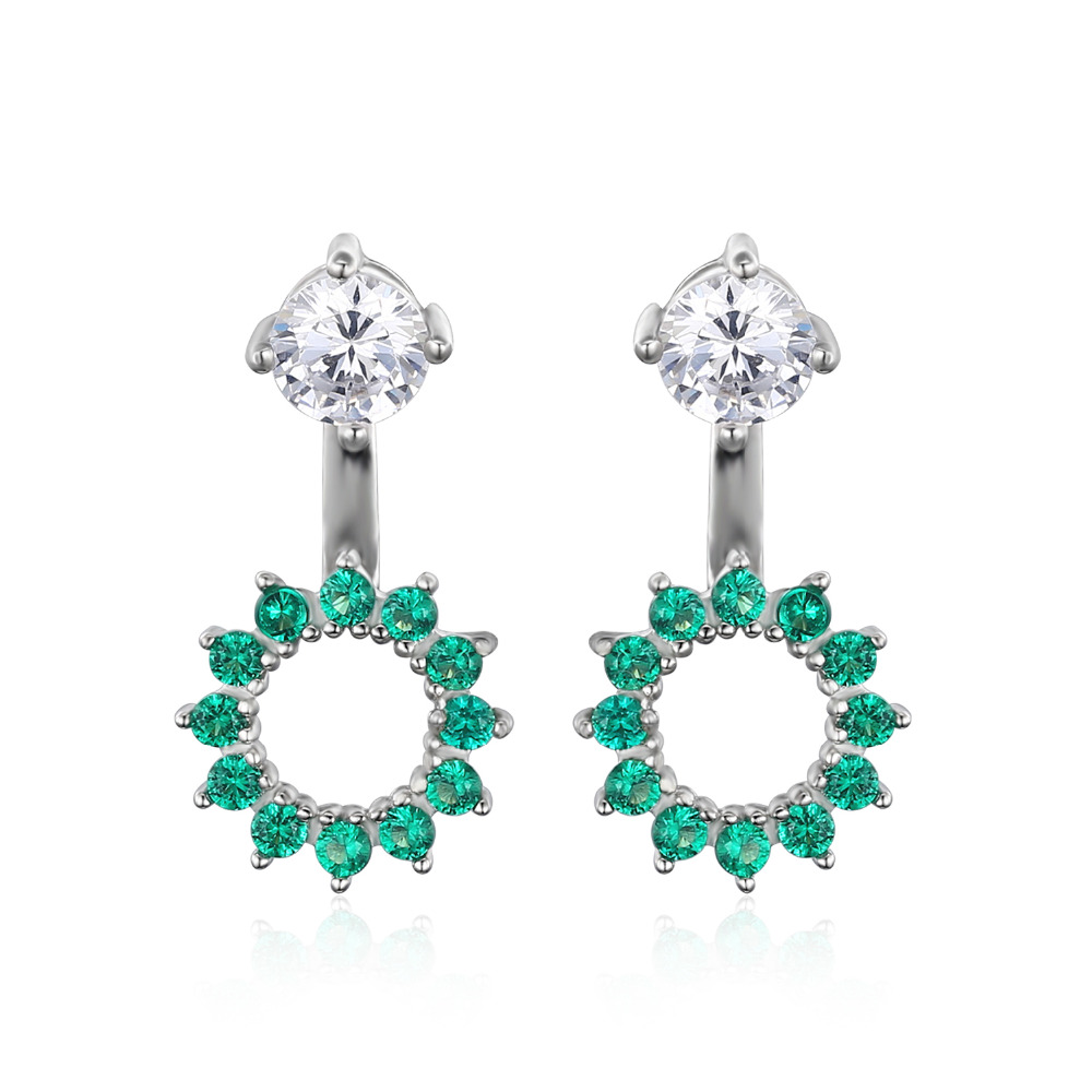 Jewelrypalace Round 1 65ct Created Emerald Earrings Jacket Genuine 925 Sterling Silver Fine Jewelry Women Fashion
