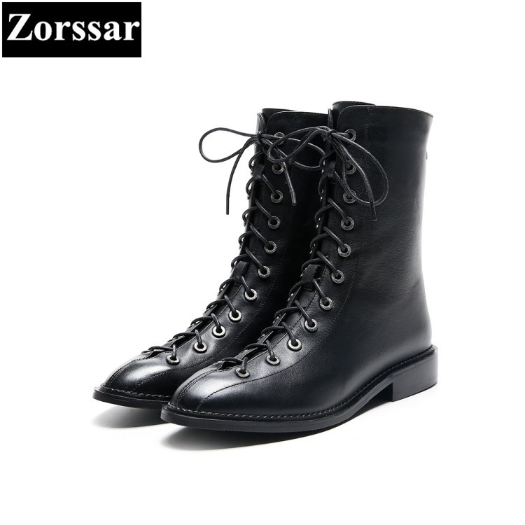 {Zorssar} 2018 NEW fashion women Motorcycle boots Genuine leather comfort Low heel lace-up Mid-Calf boots winter women shoes stylish women s mid calf boots with solid color and fringe design