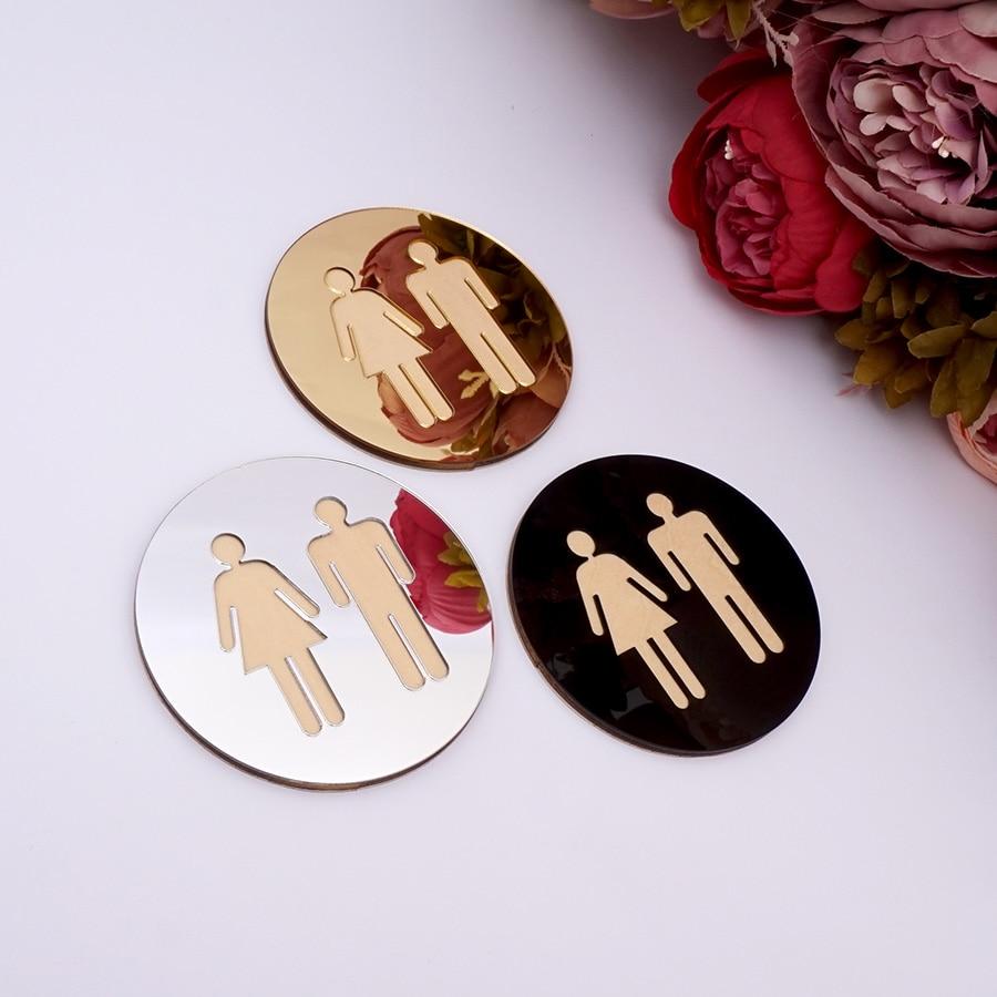 5mm 3D Acrylic Mirror Round Toilet Door Sign Bathroom WC Black Gold Silver Modern Wood Base Wall Sticker Home Decor