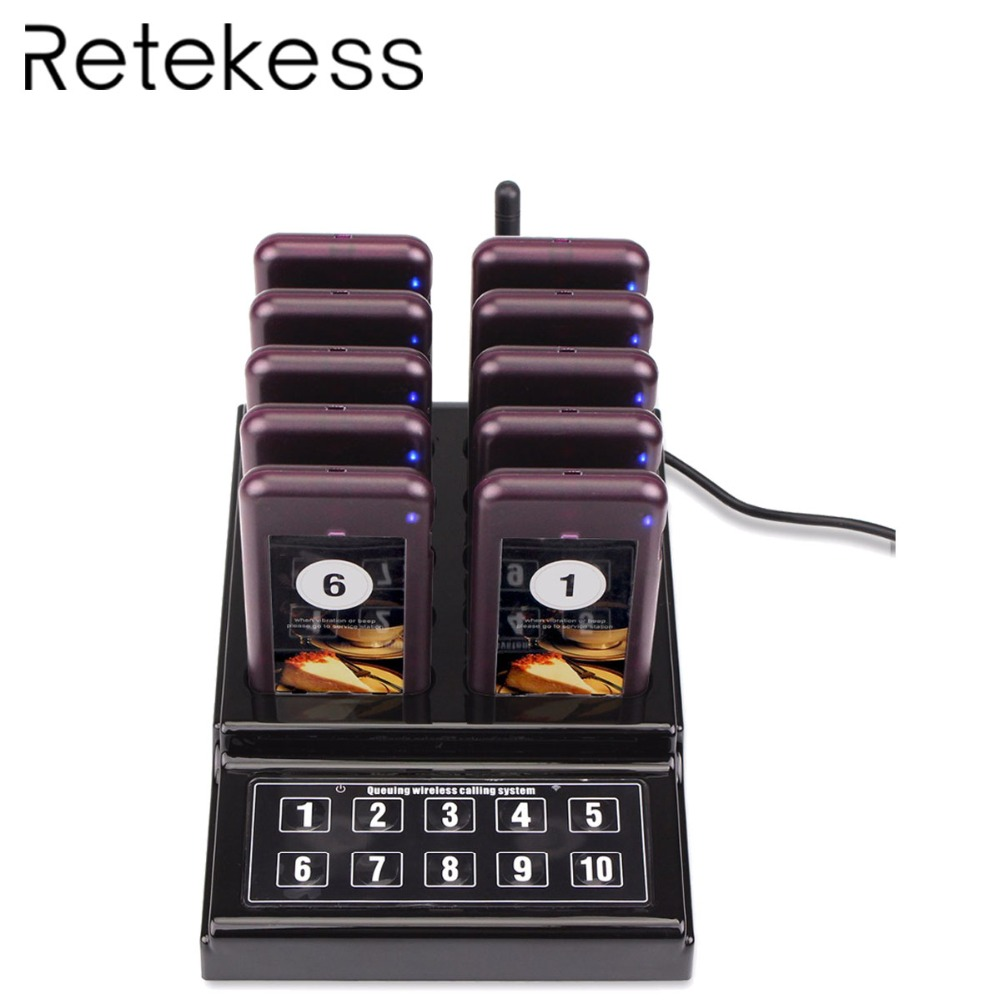 RETEKESS 1 Transmitter 10 Pagers Wireless 433 92MHz Guest Paging Queuing System For Restaurant Clinic Church