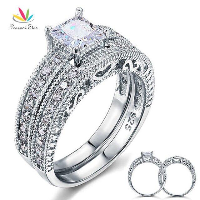 Pea Star Vintage Victorian Art Deco Wedding Engagement Ring Set 925 Sterling Silver 1 Ct Cfr8104