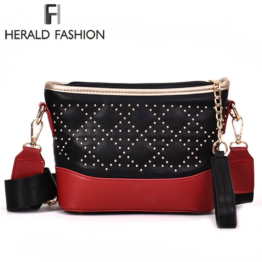 Herald Fashion Women Chain Shoulder Bag Quality PU Leather Female Messenger Bag Panelled Flap Bags Lady's Rivets Crossbody Bags flap chain pu crossbody bag