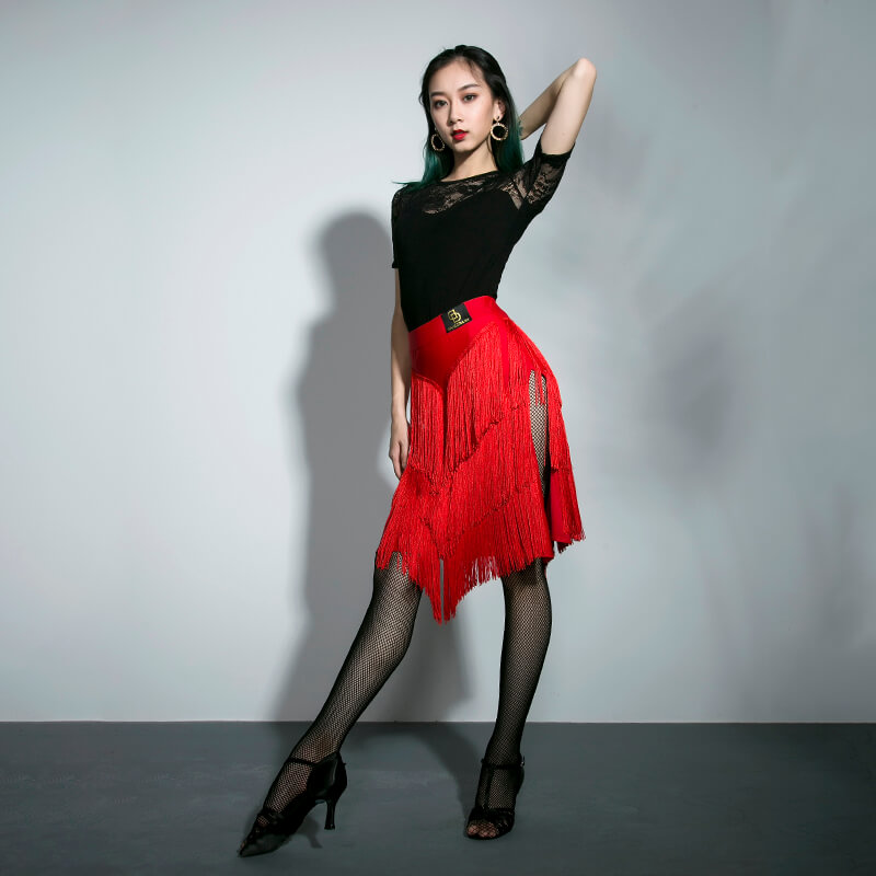 Red Gray Blue Latin Dance Skirt Women'S Adult Sexy Three-Layer Tassel Dancing Performance Dress For Salsa Samba Dancewear DL3412