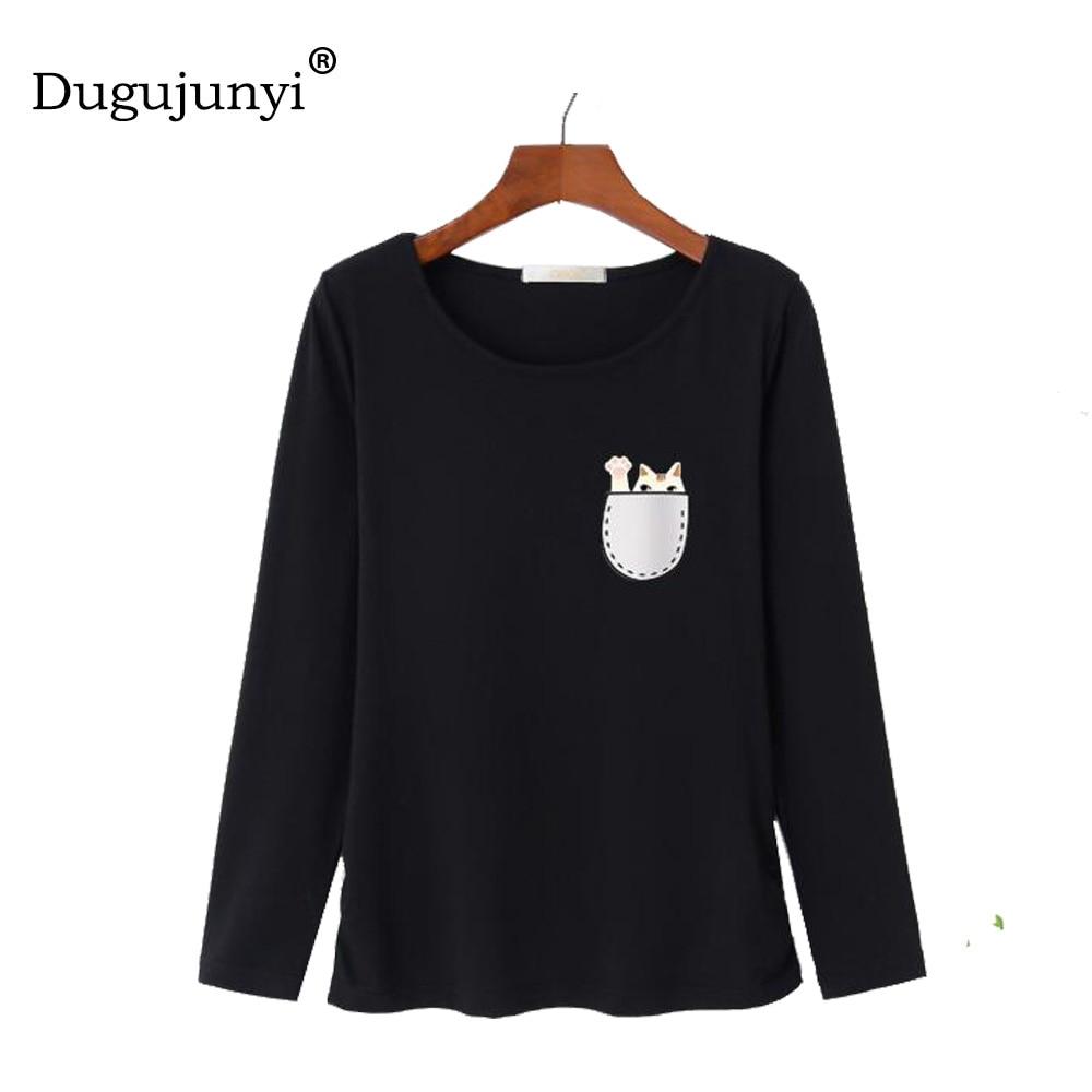 Fat mm 2018 New casual Spring T Shirt Women cotton t-shirts cute cat Print women T-shirt plus size 5XL long sleeve women tops