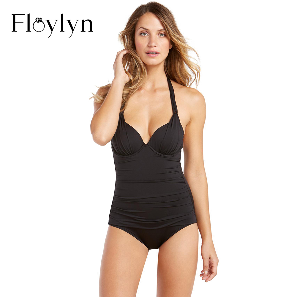 Floylyn Swimwear 2018 One Piece Suits Sexy Bodysuit Swimsuit Bandage Halter Bathing Suit Solid Color Push Up Bathing Suits sexy halter push up solid color three piece swimwear for women