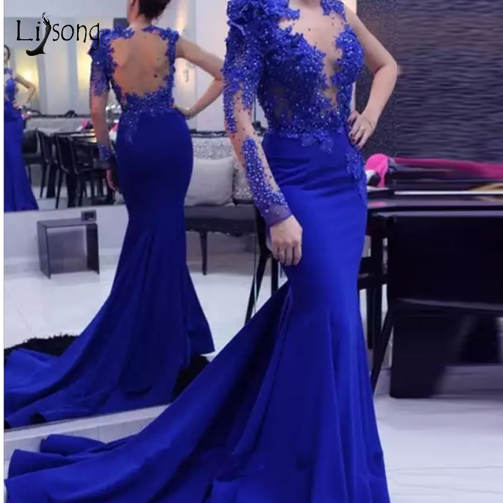 Elegant Royal Blue Mermaid   Evening     Dresses   2019 With Full Sleeves 3D Flower Lace Beaded Long Prom Gowns Illusion Back Abiye