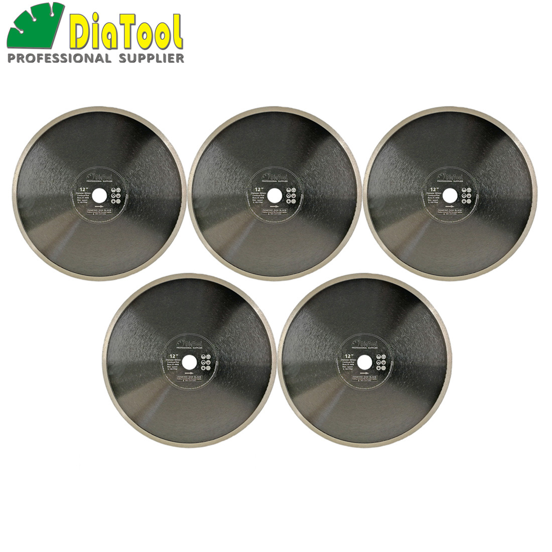 DIATOOL 5pcs Dia 12inch Hot-pressed Continue Rim Diamond Blades Cutting Disc 300mm Porcelain Tile Ceramic Marble Saw Blade Wheel diatool 2pcs 4 5 115mm hot pressed continue rim cutting diamond blade ceramic tile sawblade thin cutting disc diamond wheel