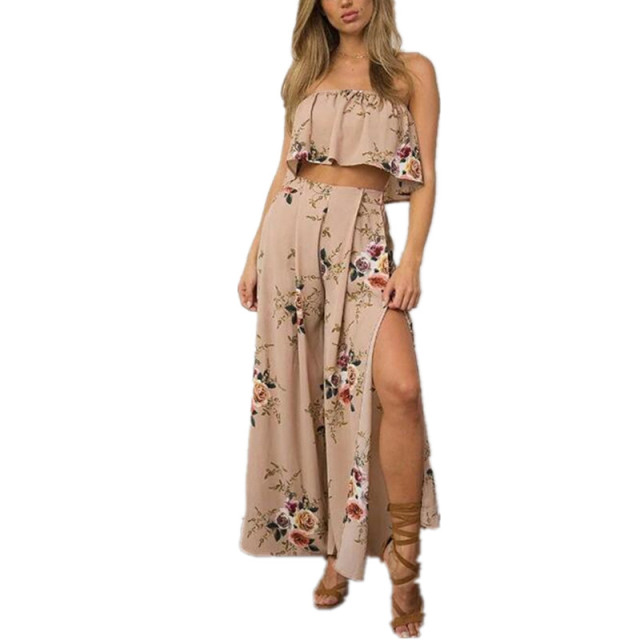 d414a56658 Fashion 2 Piece Dress Women's Boho Sets Split Long Maxi Dress Off Shoulder  Floral Summer Beach Party Dresses