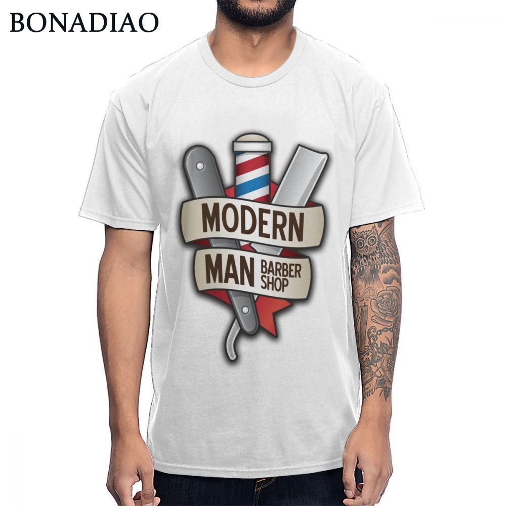 S-6XL US Size Barber Shop Straight Razor Modern Man Hairstyle <font><b>Shaving</b></font> T-<font><b>shirt</b></font> Unique Design Pure Cotton Homme Tee <font><b>Shirt</b></font> image