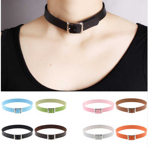 Fine quality Harajuku Belt Collar Choker Necklace PU Leather Choker Punk Goth 41*2cm