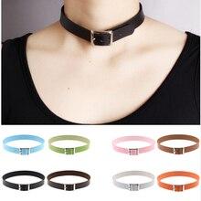 Fine quality Harajuku Belt Collar Choker Necklace PU Leather Punk Goth 41*2cm
