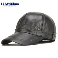 LiuWeiShun Hand Sewing Winter Cowhide Keep Warm Baseball Cap Men With Ear Flap Dad S Hat