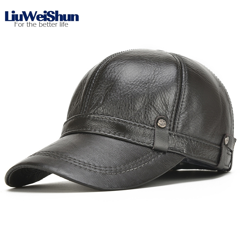 LiuWeiShun Hand sewing Winter Cowhide Keep Warm Baseball Cap Men with ear flap Dad's Hat Father's best gift Genuine Leather Cap gift children knitting wool hat cute keep warm rabbit beanie cap autumn and winter hat with earflaps whcn
