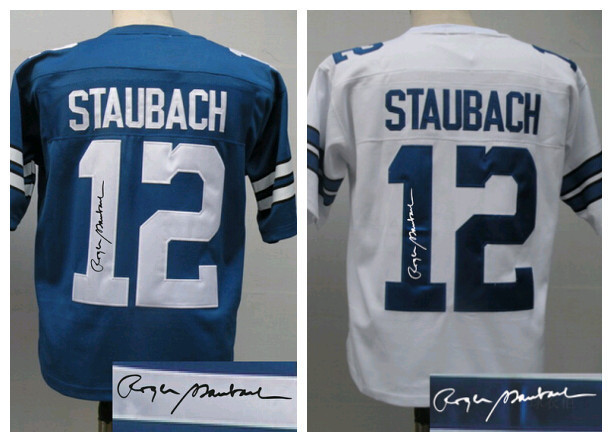 Cheap Wholesale Men Autograph/Signed Rugby Jerseys 12 Ken Stabler,Vintage Blue White Signature Mens American Football Jersey