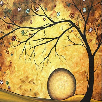 Hand Made Oil Painting On Canvas Color Gold Tree Abstract Modern Canvas Wall Art Living Room Decor Picture