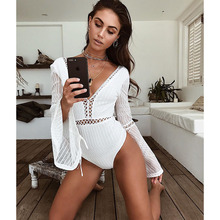 Vero Sinly Women Sexy Long Sleeve Black White Bandage 2018 Elegant Knitted Designer