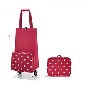 Image 1 - 2019 New Folding Shopping Bag Shopping Cart Small Pull Cart Women Buy Vegetables Bag Wheels Bags Shopping Organizer Package bag