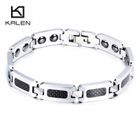 Kalen Men Women Carbon Fiber & Tungsten Steel Bracelets Health Care Hologram Energy Bracelets Unisex Fashion Link Chain Bangles