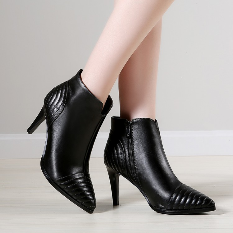 Thin High Heel Genuine Leather Pointed Toe Side Zipper Women Spring Autumn Fashion Ankle Martin Boots Size 34-39 SXQ0811 women spring autumn thick mid heel genuine leather round toe 2015 new arrival fashion martin ankle boots size 34 40 sxq0902