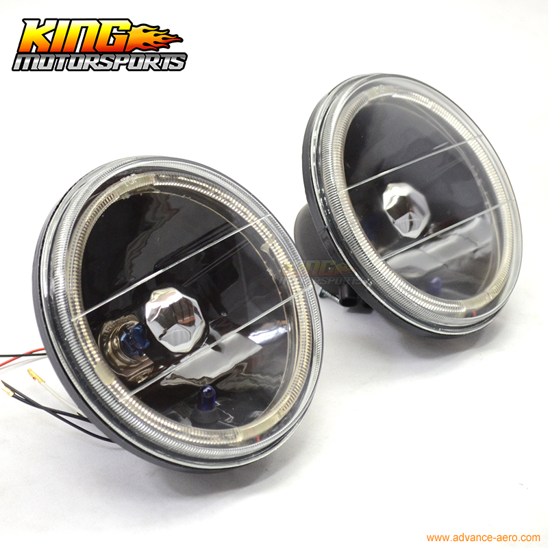 For 7 Inch VW Black Round Clear Lens Halo Replacement Head Lamps Headlights USA Domestic Free Shipping