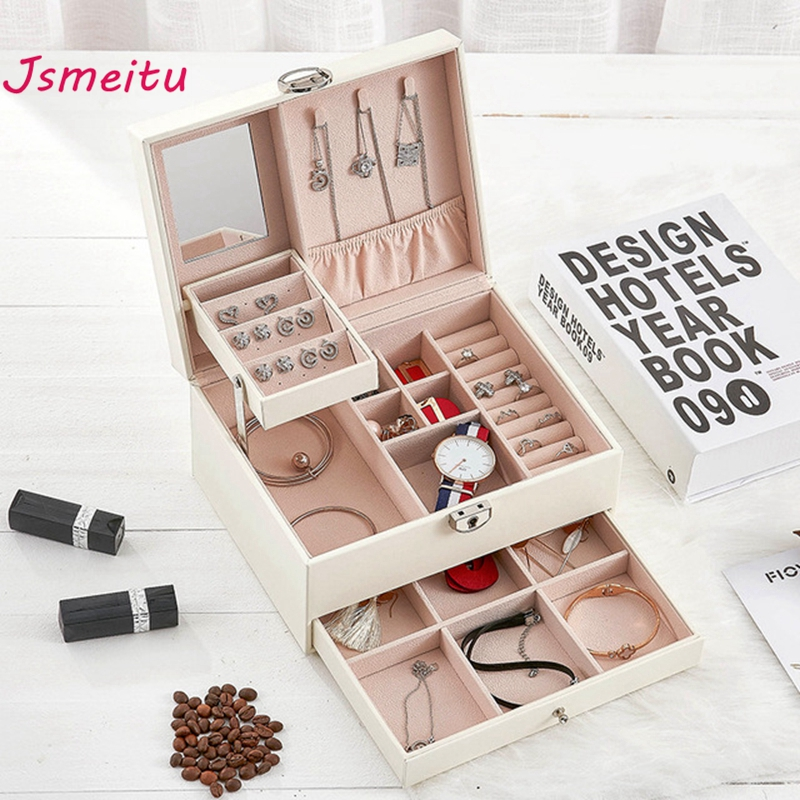 New Fashion Luxury Jewelry Boxes Three Layers With Safe Lock Large Size Storage For Ring Necklace Earrings Jewelry Holder JP-06 makeup organizer box
