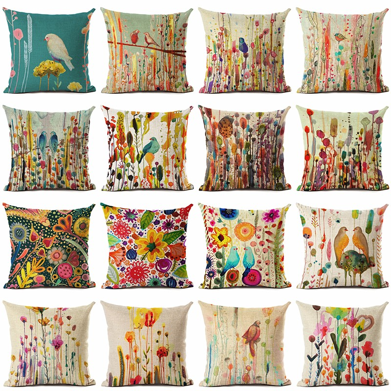 >New Arrive Oil Painting Birds <font><b>Cushion</b></font> <font><b>Cover</b></font> <font><b>Decorative</b></font> Sofa Throw Pillow Car Chair Home Decor Pillow Case almofadas