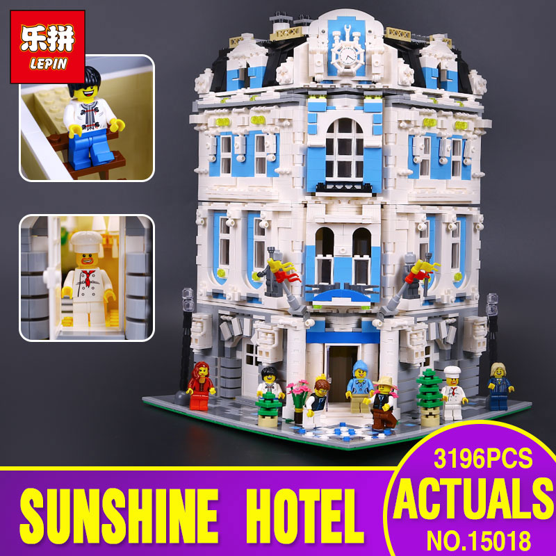 Lepin 15018 3196pcs 2017 New MOC City Series The Sunshine Hotel Set Building Blocks Bricks Toys for children days' gift lepin 01045 1676pcs girls series heartlake grand hotel set children eucational building blocks bricks toys model gift 41101