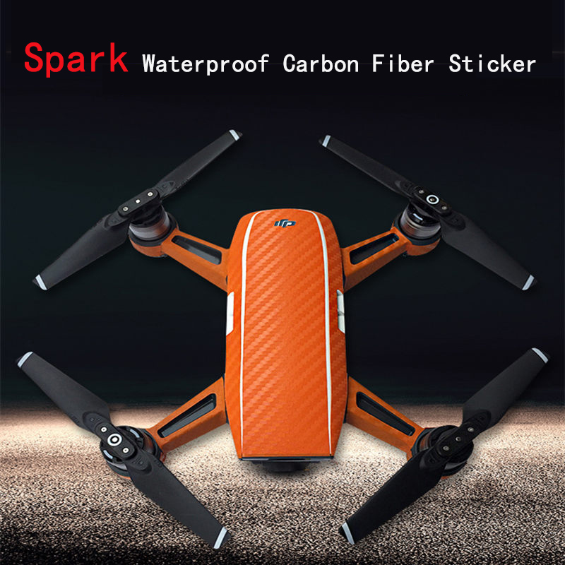 DJI Spark Newest FPV Drone Protective Luxury Carbon Fiber Sticker Skin Cover Waterproof Sticker Spare Parts