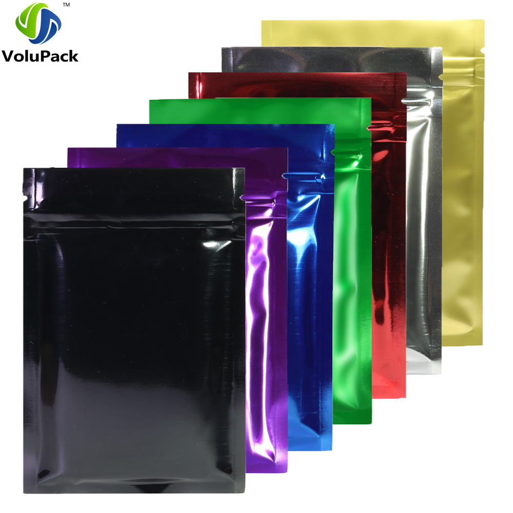 8.5x13cm (3.25x5in) 100pcs Glossy Blue/Silver/ Green/ Red/ Gold/ Purple/ Black Zip Lock Bags Metallic Foil Flat Ziplock Pouches(China)