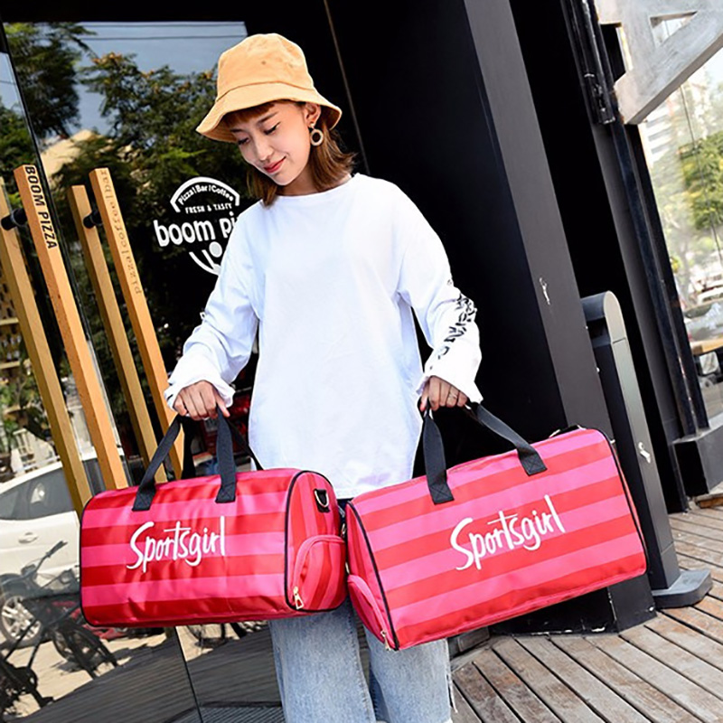 2019 Hot Girl Stripe Duffle Pink Bag Nylon Victoria Beach Shoulder Bag Large Capacity Overnight Weekender Travel Bags Hand Sac
