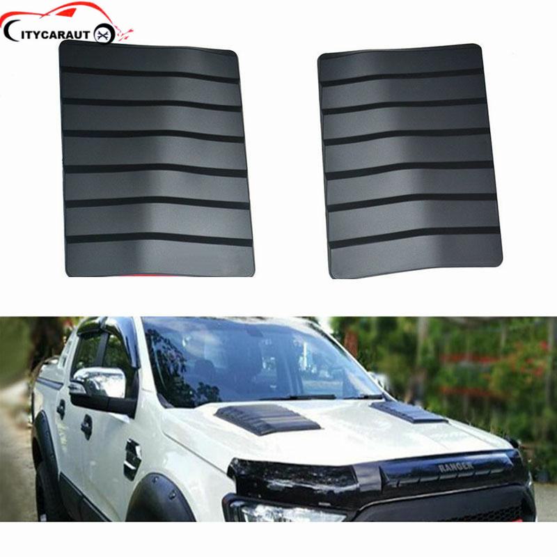 цена на 2pcs for 2012-2017 ranger t6,T7,XLT Car Styling Stickers ABS Decorative Air Flow Intake Scoop Bonnet Vent Cover citycarauto