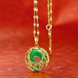 M.G.Fam дракон и Ожерелье Феникса для женщин зеленые Стразы Древний китайский талисман Чистый золотой цвет с цепочкой 45 см