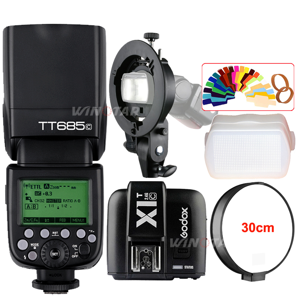 Godox TT685C 2.4G Wireless HSS 1/8000s E-TTL II Camera Flash Speedlite + X1T-C Trigger + Bowens Bracket for Canon DSLR Cameras godox tt685 tt685c 2 4g wireless hss 1 8000s ttl camera flash speedlite bowens s type bracket for canon dslr cameras