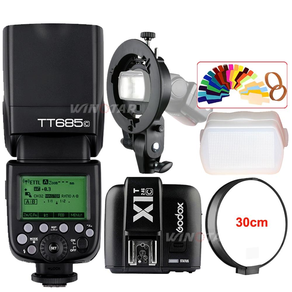 Godox TT685C 2.4G Wireless HSS 1/8000s E-TTL II Camera Flash Speedlite + X1T-C Trigger + Bowens Bracket for Canon DSLR Cameras godox v860iic v860iin v860iis x1t c x1t n x1t s hss 1 8000s gn60 ttl flash speedlite 2 4g transmission godox softbox filter