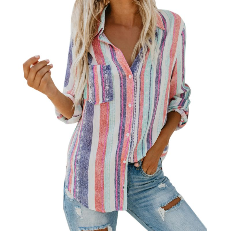 Women Tops Shirt Striped Blouse Blusas Long-Sleeves Autumn Colorful