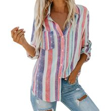 Colorful Striped Blouse Women Tops Long Sleeves Wom