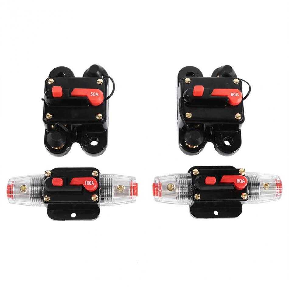 Black 80A Car Auto Circuit Breaker Audio Fuse Holder Reset Switch 12V-24V DC tyu