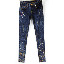 European Style Elegant Rhinestone Womens Stretch Female Colored Diamond Denim Pencil Jeans AD9675