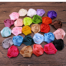 Wholesale250pcs/lot 4CM Small satin rosettes Girls Boutique Shabby Rose Flowers Satin Fabric Flower For Headbands