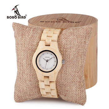 BOBO BURUNG bambu Wanita jam tangan Quartz Lipat gesper Imitasi berlian menonton wanita jam logo kustom dengan kasus kayu