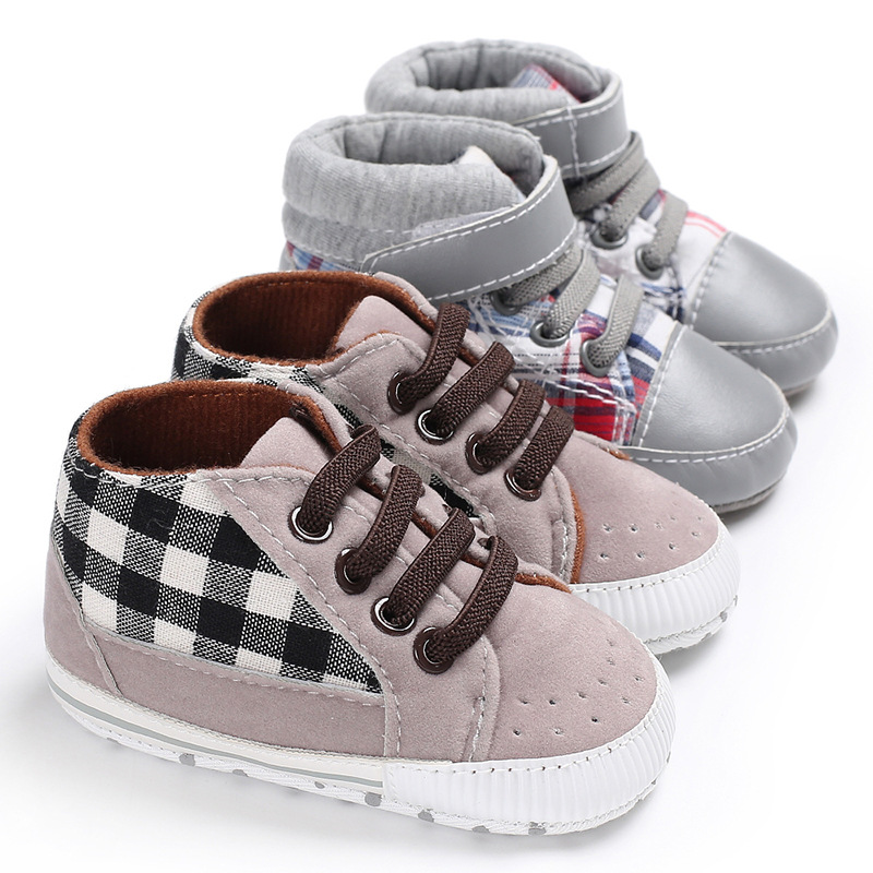 Newborn Men's And Women's Shoes Canvas First Walker With Striped Plaid Casual Toddler Shoes Non-slip Soft Bottom Children's Shoe