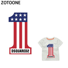 ZOTOONE Children US Flag Digital Letter Patches Clothing Applications Iron on Heat Transfer Stickers DIY T-shirt Washable E