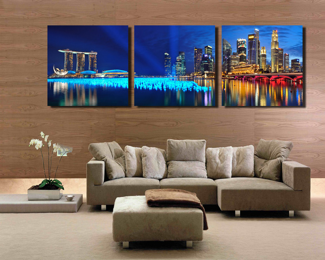 3 Panel Singapore Night Scene Hd Wall Art Picturetop Rated