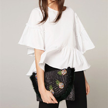 New straw woven bag ball pineapple ladies crossbody dual-use womens women handbag