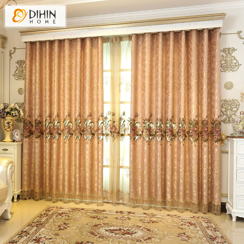 Dihin 1 Pc European Luxury Embroidered Curtains For Living Room Drapes Curtain Ready Made