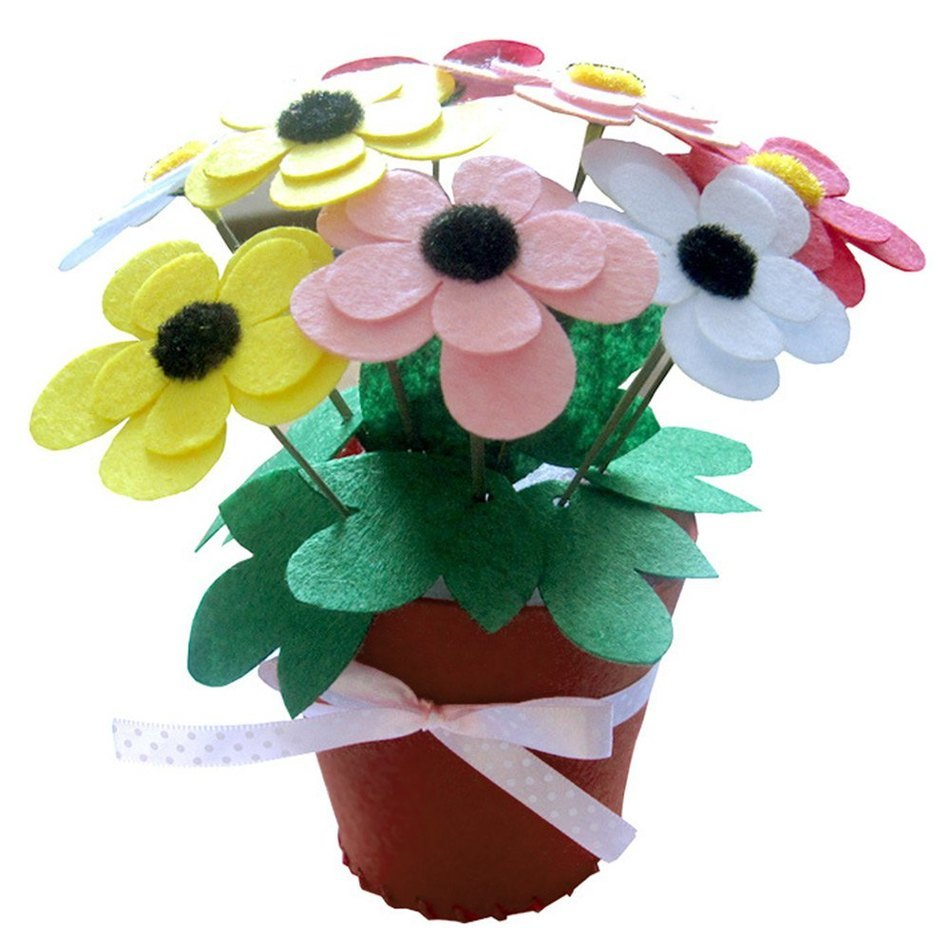New Arrival Chiristmas Gift Todder Children DIY Non-woven Handmade Artificial Flower Pot Educational Early Childhood Puzzle Toy